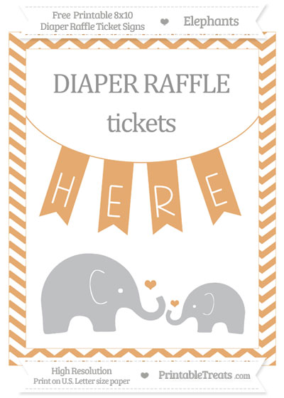 Free Fawn Chevron Elephant 8x10 Diaper Raffle Ticket Sign
