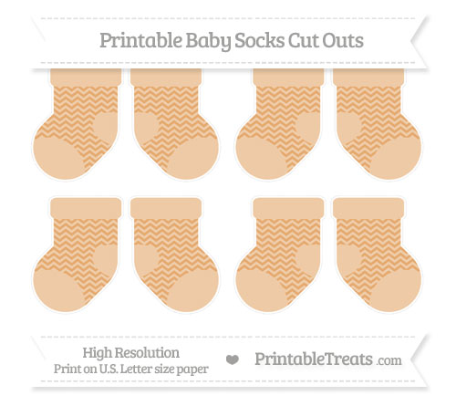 Free Fawn Chevron Small Baby Socks Cut Outs