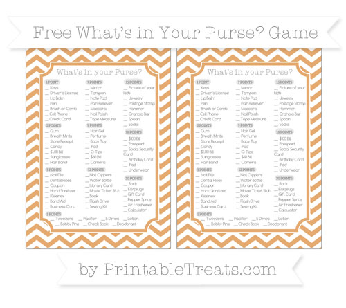 Free Fawn Chevron What's in Your Purse Baby Shower Game
