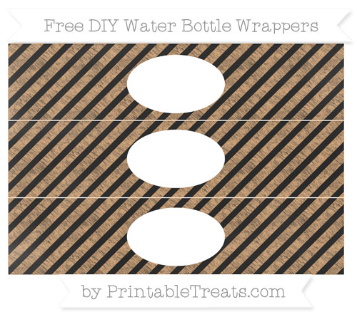 Free Fawn Diagonal Striped Chalk Style DIY Water Bottle Wrappers