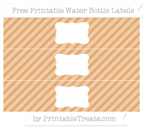 Free Fawn Diagonal Striped Water Bottle Labels