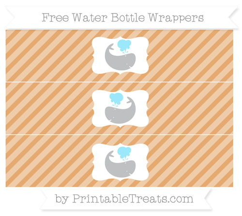 Free Fawn Diagonal Striped Whale Water Bottle Wrappers