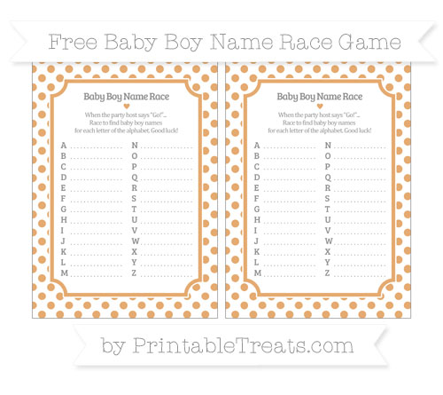 Free Fawn Dotted Pattern Baby Boy Name Race Game