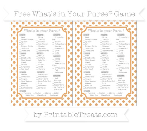 Free Fawn Dotted Pattern What's in Your Purse Baby Shower Game