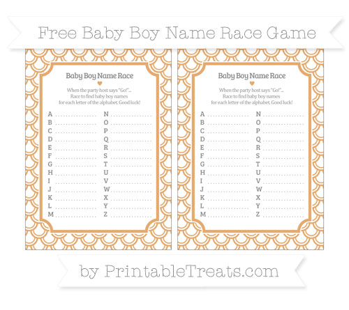 Free Fawn Fish Scale Pattern Baby Boy Name Race Game