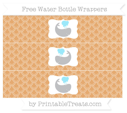 Free Fawn Fish Scale Pattern Whale Water Bottle Wrappers
