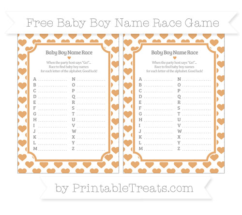 Free Fawn Heart Pattern Baby Boy Name Race Game
