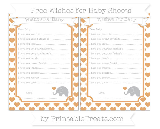 Free Fawn Heart Pattern Baby Elephant Wishes for Baby Sheets