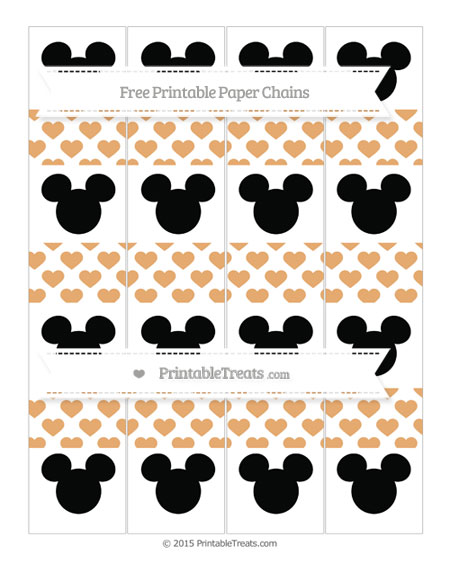 Free Fawn Heart Pattern Mickey Mouse Paper Chains