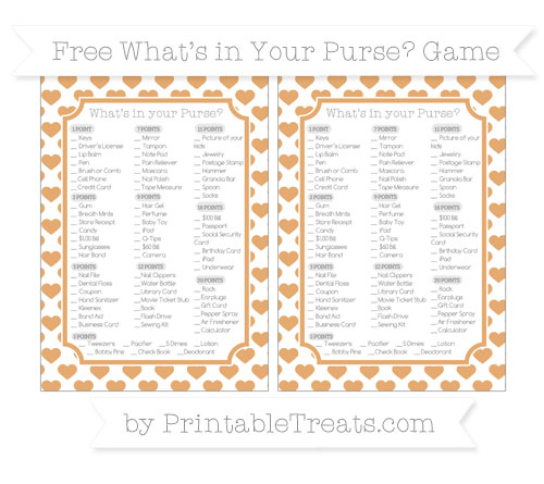 Free Fawn Heart Pattern What's in Your Purse Baby Shower Game