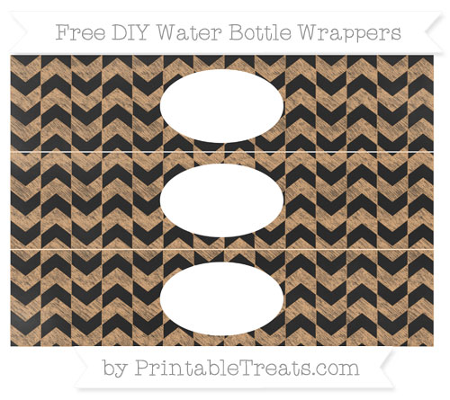 Free Fawn Herringbone Pattern Chalk Style DIY Water Bottle Wrappers