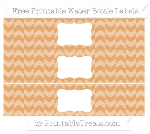 Free Fawn Herringbone Pattern Water Bottle Labels