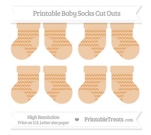 Free Fawn Herringbone Pattern Small Baby Socks Cut Outs