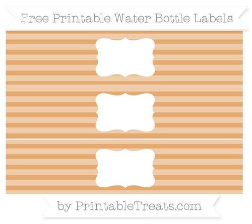 Free Fawn Horizontal Striped Water Bottle Labels