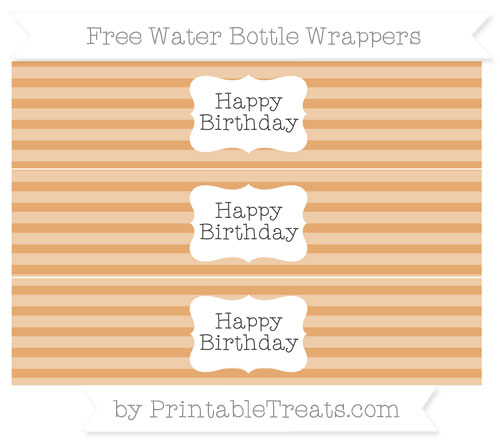 Free Fawn Horizontal Striped Happy Birhtday Water Bottle Wrappers