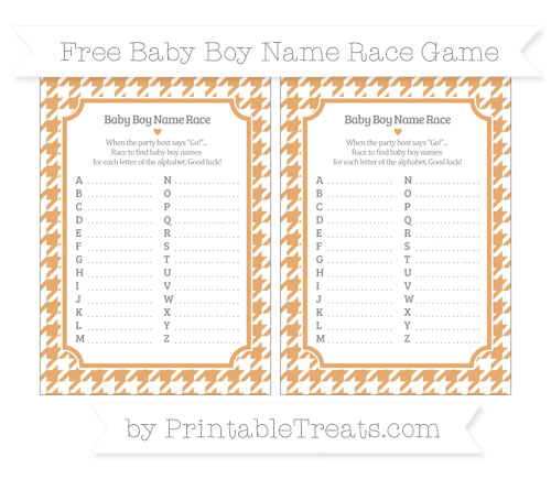 Free Fawn Houndstooth Pattern Baby Boy Name Race Game