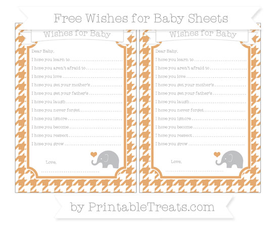 Free Fawn Houndstooth Pattern Baby Elephant Wishes for Baby Sheets