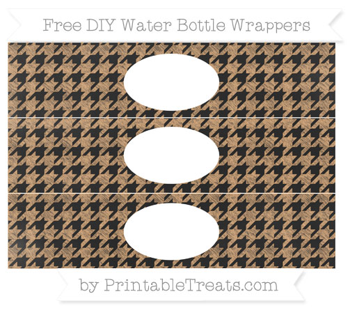 Free Fawn Houndstooth Pattern Chalk Style DIY Water Bottle Wrappers