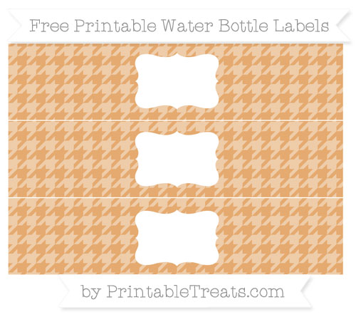 Free Fawn Houndstooth Pattern Water Bottle Labels