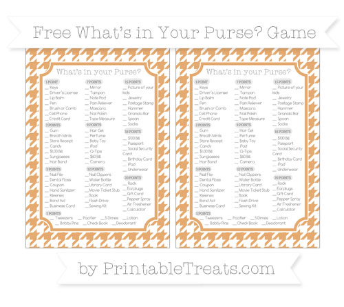 Free Fawn Houndstooth Pattern What's in Your Purse Baby Shower Game