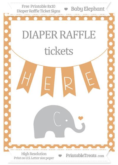 Free Fawn Polka Dot Baby Elephant 8x10 Diaper Raffle Ticket Sign