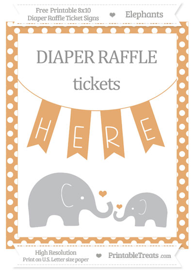 Free Fawn Polka Dot Elephant 8x10 Diaper Raffle Ticket Sign