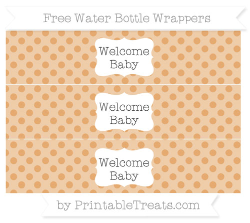 Free Fawn Polka Dot Welcome Baby Water Bottle Wrappers