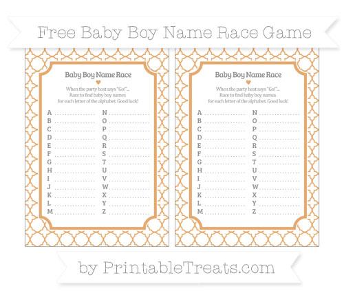 Free Fawn Quatrefoil Pattern Baby Boy Name Race Game