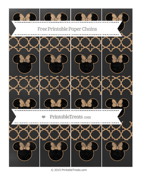 Free Fawn Quatrefoil Pattern Chalk Style Minnie Mouse Paper Chains