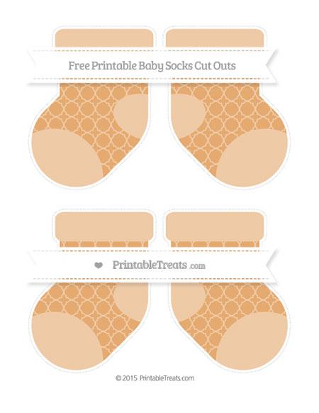 Free Fawn Quatrefoil Pattern Medium Baby Socks Cut Outs