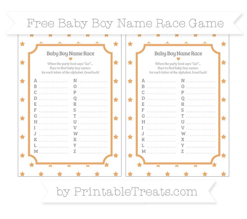 Free Fawn Star Pattern Baby Boy Name Race Game