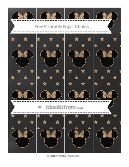 Free Fawn Star Pattern Chalk Style Minnie Mouse Paper Chains