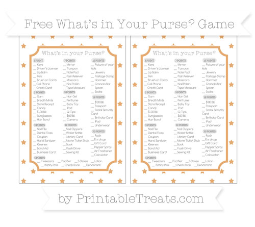 Free Fawn Star Pattern What's in Your Purse Baby Shower Game
