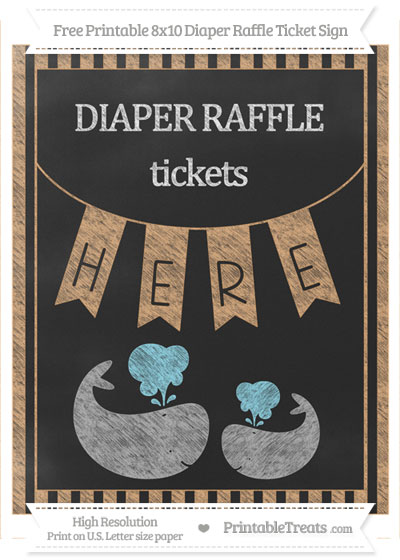 Free Fawn Striped Chalk Style Baby Whale 8x10 Diaper Raffle Ticket Sign