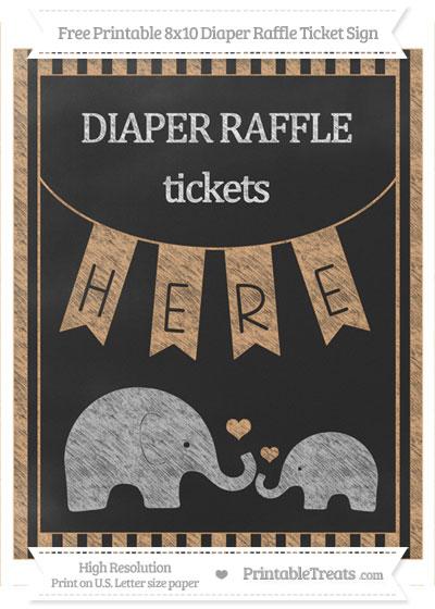 Free Fawn Striped Chalk Style Elephant 8x10 Diaper Raffle Ticket Sign