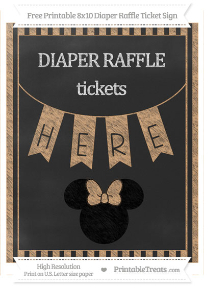 Free Fawn Striped Chalk Style Minnie Mouse 8x10 Diaper Raffle Ticket Sign
