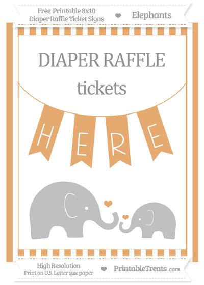 Free Fawn Striped Elephant 8x10 Diaper Raffle Ticket Sign