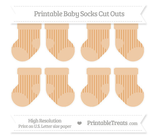 Free Fawn Striped Small Baby Socks Cut Outs