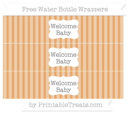 Free Fawn Striped Welcome Baby Water Bottle Wrappers