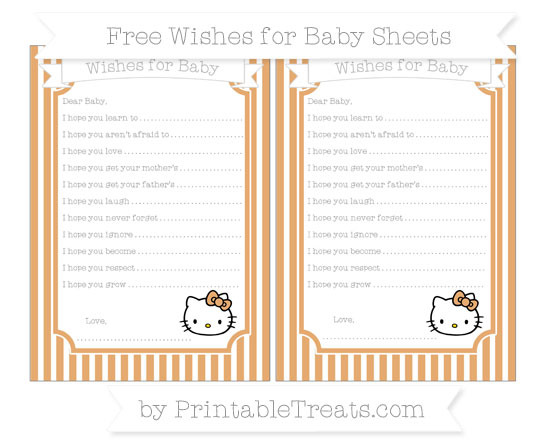 Free Fawn Thin Striped Pattern Hello Kitty Wishes for Baby Sheets