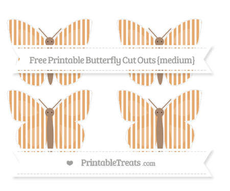 Free Fawn Thin Striped Pattern Medium Butterfly Cut Outs