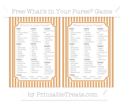 Free Fawn Thin Striped Pattern What's in Your Purse Baby Shower Game