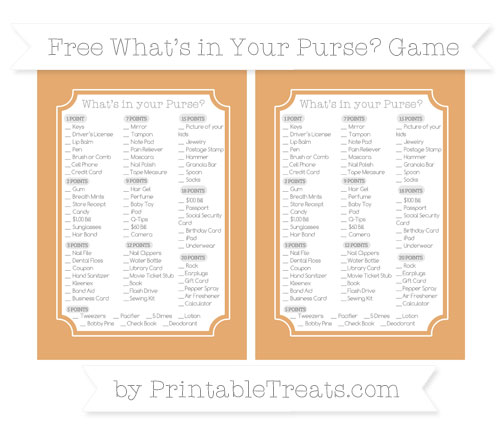 Free Fawn What's in Your Purse Baby Shower Game