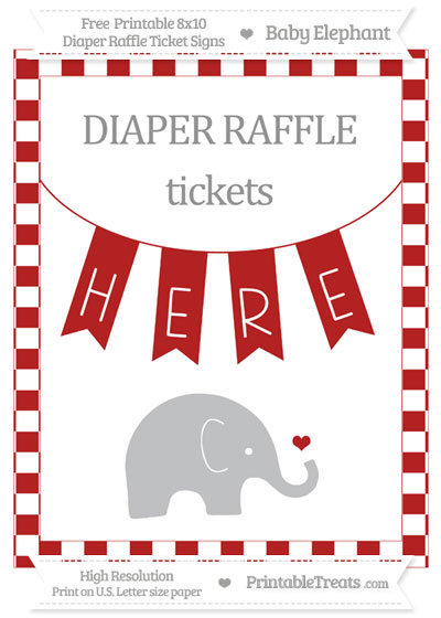 Free Fire Brick Red Checker Pattern Baby Elephant 8x10 Diaper Raffle Ticket Sign