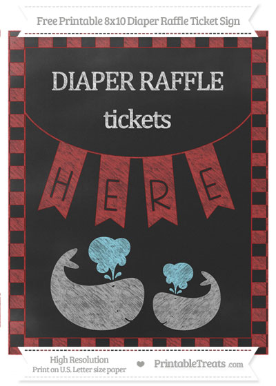 Free Fire Brick Red Checker Pattern Chalk Style Baby Whale 8x10 Diaper Raffle Ticket Sign