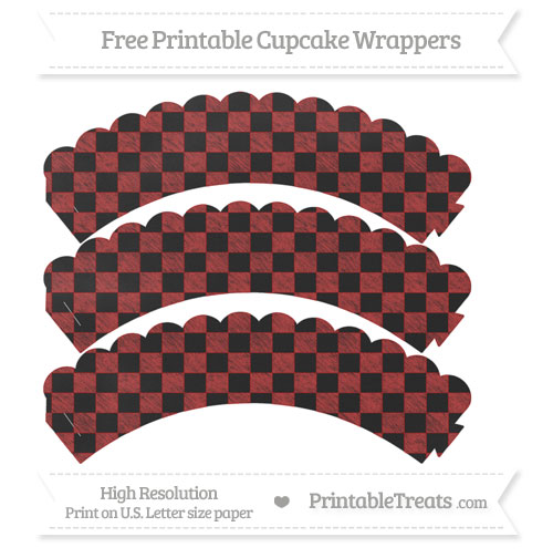 Free Fire Brick Red Checker Pattern Chalk Style Scalloped Cupcake Wrappers