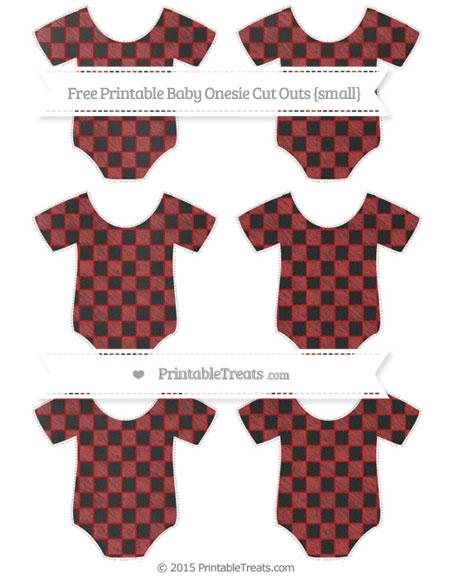Free Fire Brick Red Checker Pattern Chalk Style Small Baby Onesie Cut Outs