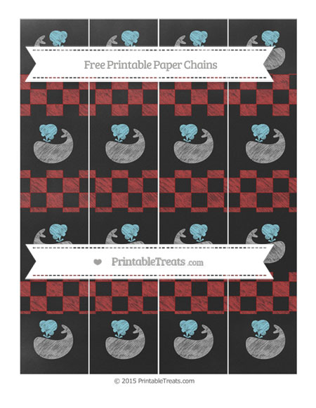 Free Fire Brick Red Checker Pattern Chalk Style Whale Paper Chains