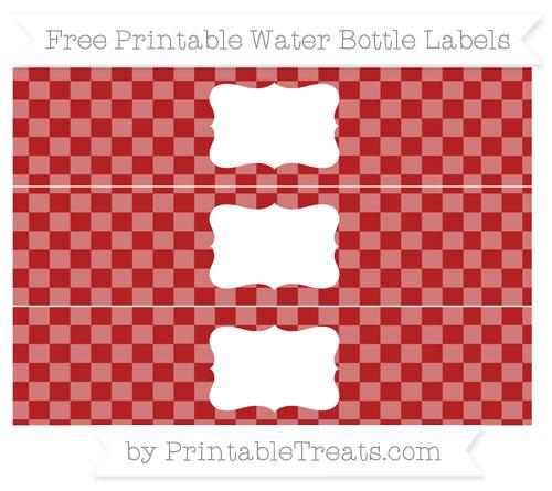 Free Fire Brick Red Checker Pattern Water Bottle Labels