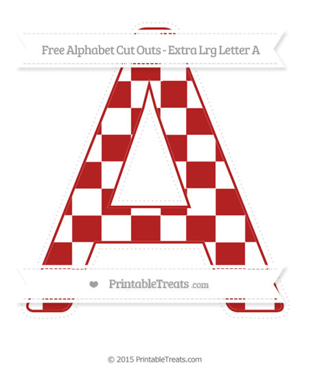 Free Fire Brick Red Checker Pattern Extra Large Capital Letter A Cut Outs